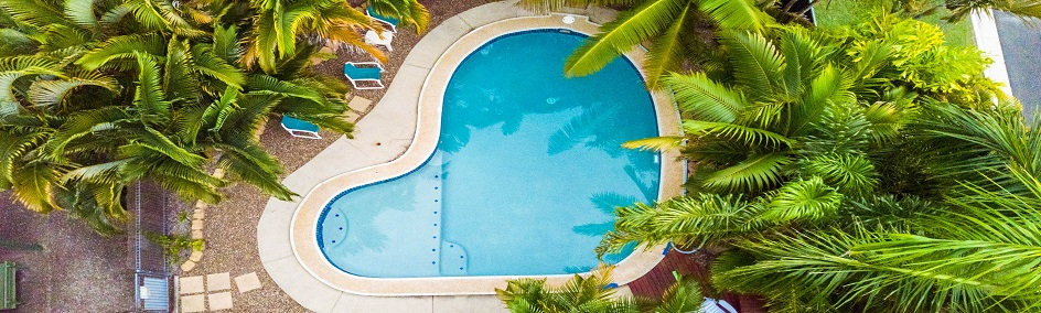 Our heart shaped pool is ready to enjoy